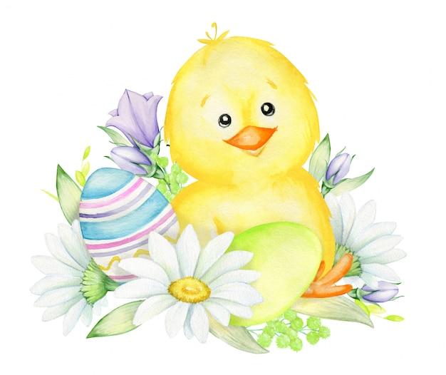 Желтый цыпленок, сидящий на куче цветов, пасхальные яйца. акварель