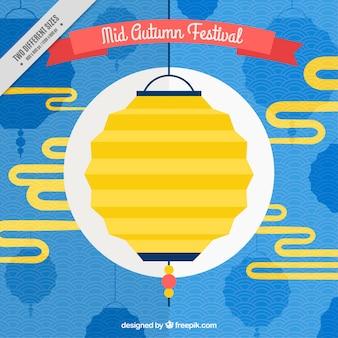 Желтый китайский фонарь для середины осени фестиваль