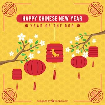 지사와 함께 노란색 중국 새 해 배경