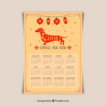 Yellow chinese new year calendar with dog