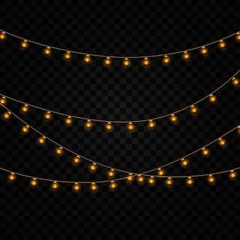 黄色のクリスマスライトの花輪