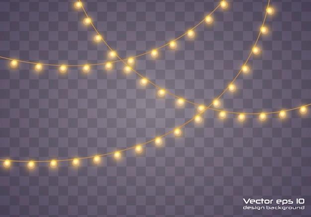 Желтые рождественские огни изолированные реалистка (ст) дизайн элементы. рождественские огни, изолированные на прозрачном фоне. рождественские светящиеся гирлянды. иллюстрация