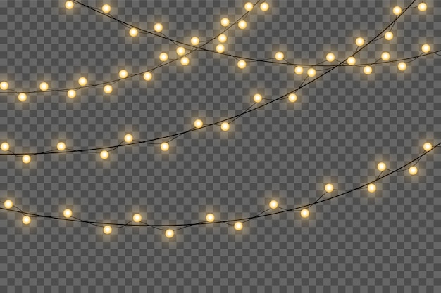 Yellow christmas lights isolated realistic design elements.christmas lights isolated on transparent background. xmas glowing garland.  .