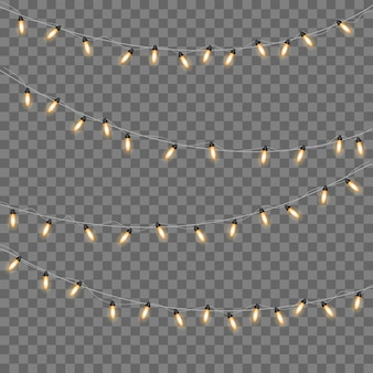 Yellow christmas lights isolated realistic design elements.christmas lights isolated on transparent background. xmas glowing garland.