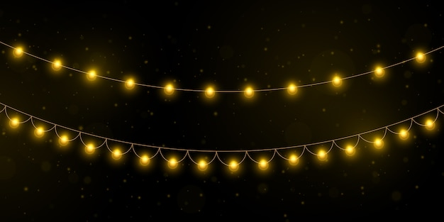 Yellow christmas lights isolated realistic  elements.
