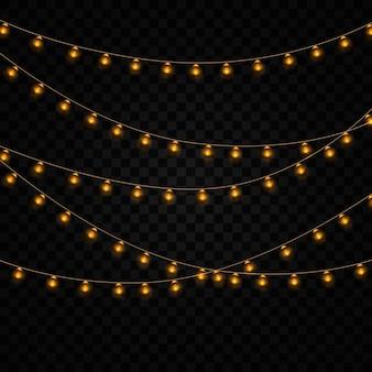 分離された黄色のクリスマスライト