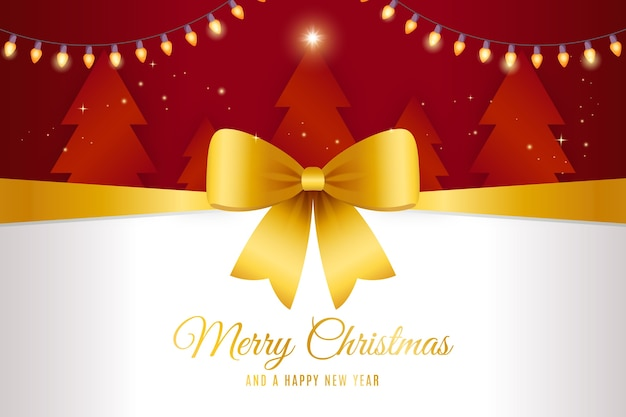 Yellow christmas ribbon background