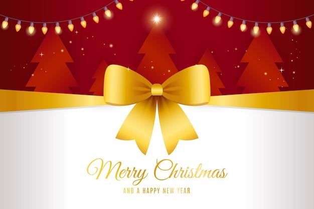 노란 크리스마스 리본 배경