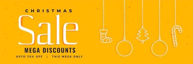 Yellow christmas sale banner template