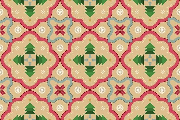 黄色のクリスマスツリー花雪ヴィンテージモロッコ民族幾何学的な東洋のシームレスな伝統的なパターン。背景、カーペット、壁紙の背景、衣類、ラッピング、バティック、ファブリックのデザイン。ベクター。
