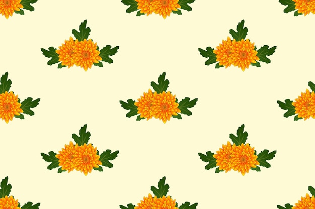 Yellow chrysanthemum on ivory beige background