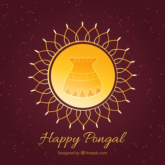 Yellow circle of happy pongal