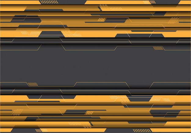 Yellow circuit on grey futuristic background.