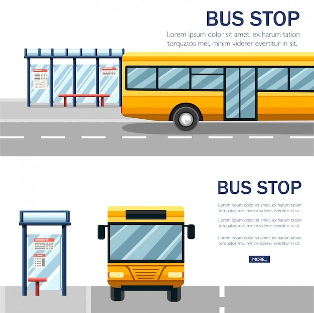 黄色の市バス。公共交通機関のイラスト。バス停と道路。白い背景の上のフラットなデザインスタイル。正面図オプション。ウェブサイトや広告のための公共交通機関のコンセプトデザイン。