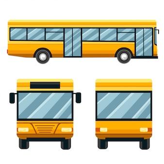 黄色の市バス。公共交通機関のイラスト。フラットなデザインスタイル。白い背景で隔離されました。 2つのフロントオプション。