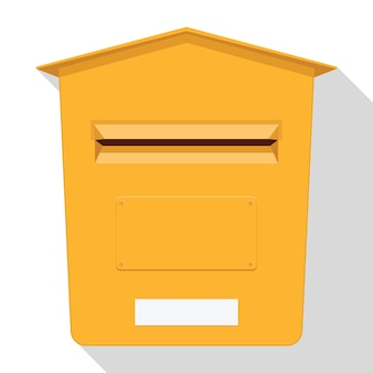 Yellow classic post box. mail box icon. letterbox.