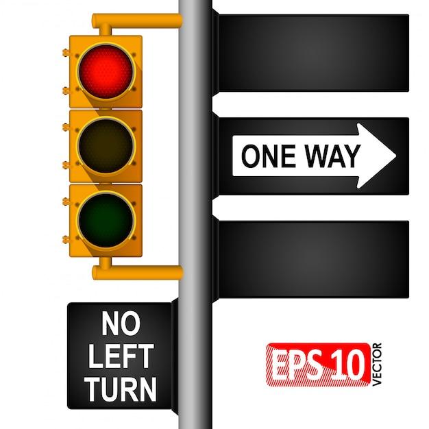 Желтый классический светофор на столбе в сша. дорожные знаки. регулирование дорожного движения.