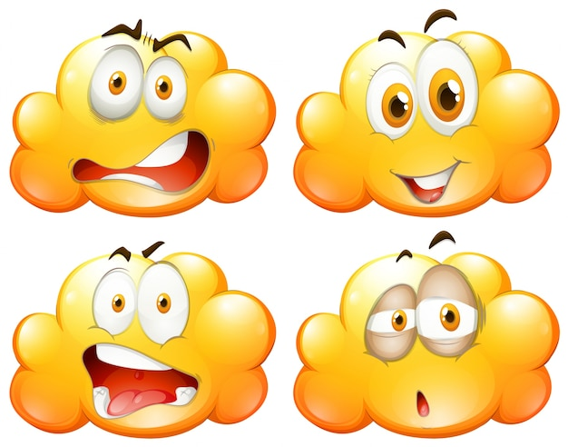 Yellow clouds with different facial expressions