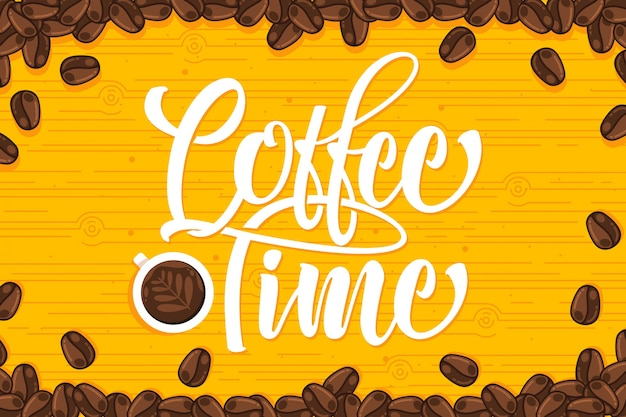 Yellow coffee beans background with lettering