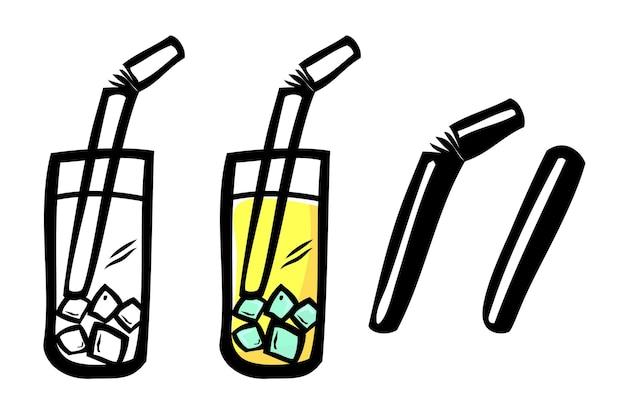 노란색 차가운 음료, 벡터 간단한 낙서 손 그리기 스케치