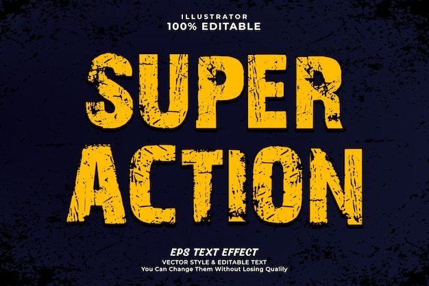 Yellow color action text style effect template