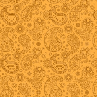Yellow color arabic paisley pattern