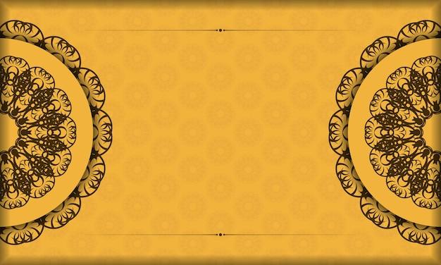 Баннер желтого цвета с абстрактным коричневым узором для дизайна логотипа