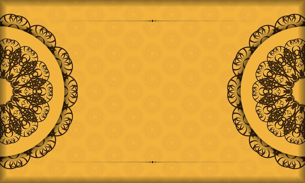 Yellow color banner with abstract brown pattern for logo design