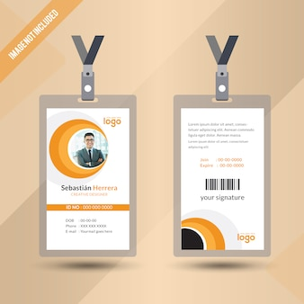 Yellow Color Staff Id Card Design