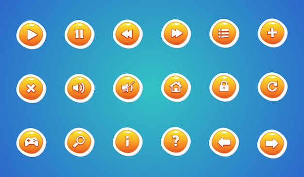 Yellow color user interface buttons set