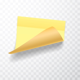 Yellow colored sheet of note papers with curled corner and shadow