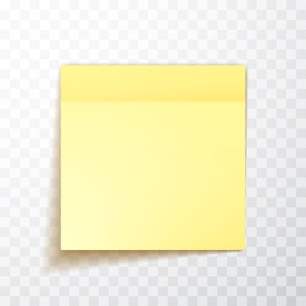 Yellow colored sheet of note papers with shadow