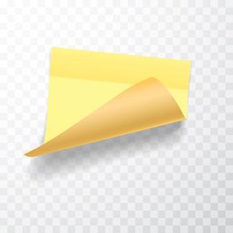 가장자리가 말린 모서리와 그림자가있는 노란색 컬러 시트