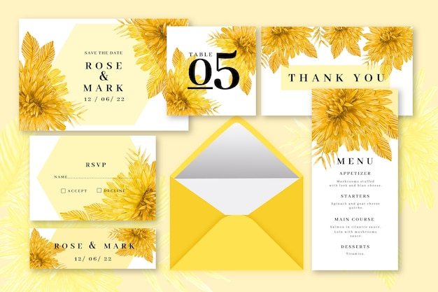 Yellow colored wedding stationery