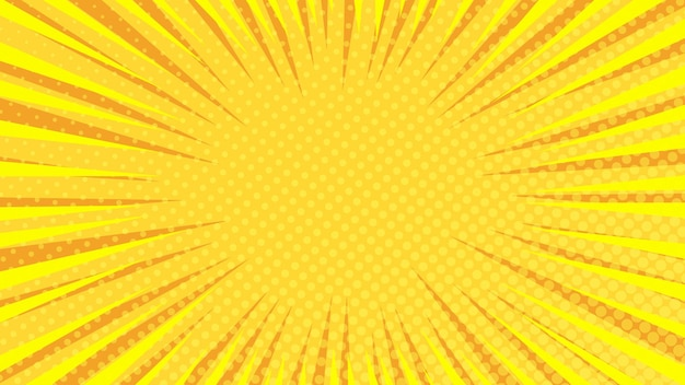Yellow comic book page background in pop art style with empty space. template with rays, dots and halftone effect texture. vector illustration