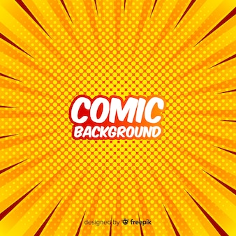 Yellow comic halftone background