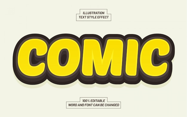 Yellow comic text style effect
