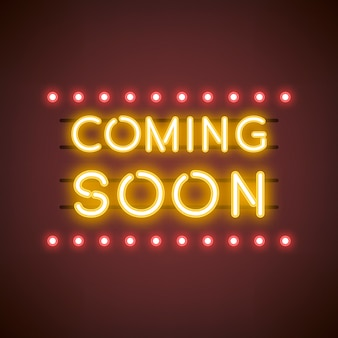 Yellow coming soon neon sign vector
