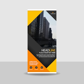 Yellow commercial roll up banner
