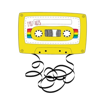 Yellow compact tape cassette. retro audio cassette tape in doodle style isolated on a white background. vector black and white illustration for web banners, advertisements, stickers, labels, t-shirt