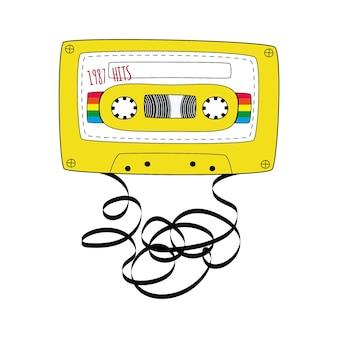黄色のコンパクトテープカセット。白い背景で隔離の落書きスタイルのレトロなオーディオカセットテープ。 webバナー、広告、ステッカー、ラベル、tシャツのベクトルの黒と白のイラスト