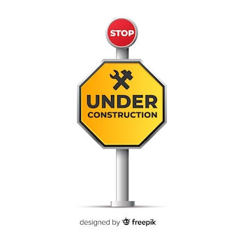 Yellow under construction realistic sign