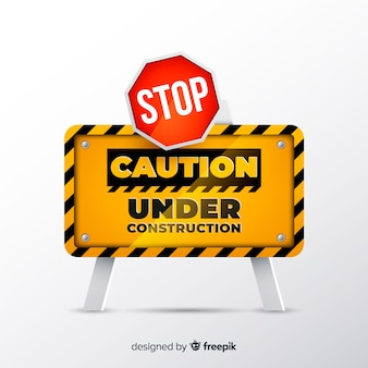 Yellow construction sign realistic style