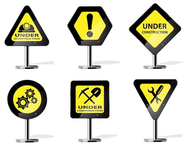 Yellow construction signs. road yellow warning sign