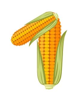 黄色いトウモロコシナンバー1スタイル食品漫画デザインフラットベクトルイラスト白い背景で隔離