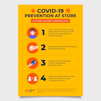 Yellow coronavirus prevention poster