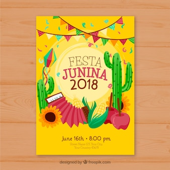 Yellow cover template for festa junina