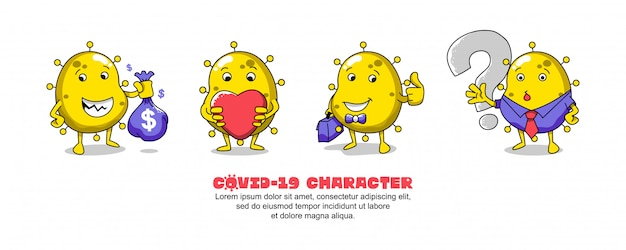 黄色のcovid-19。コロナウイルスの漫画のインスピレーションのデザイン。お金、愛、ビジネスマンおよび質問