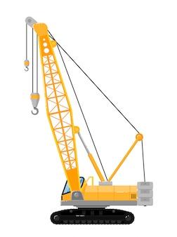 Yellow crawler crane isolated on white