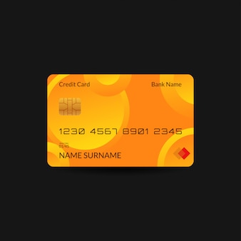 Yellow credit card template with gradient wave and editable text